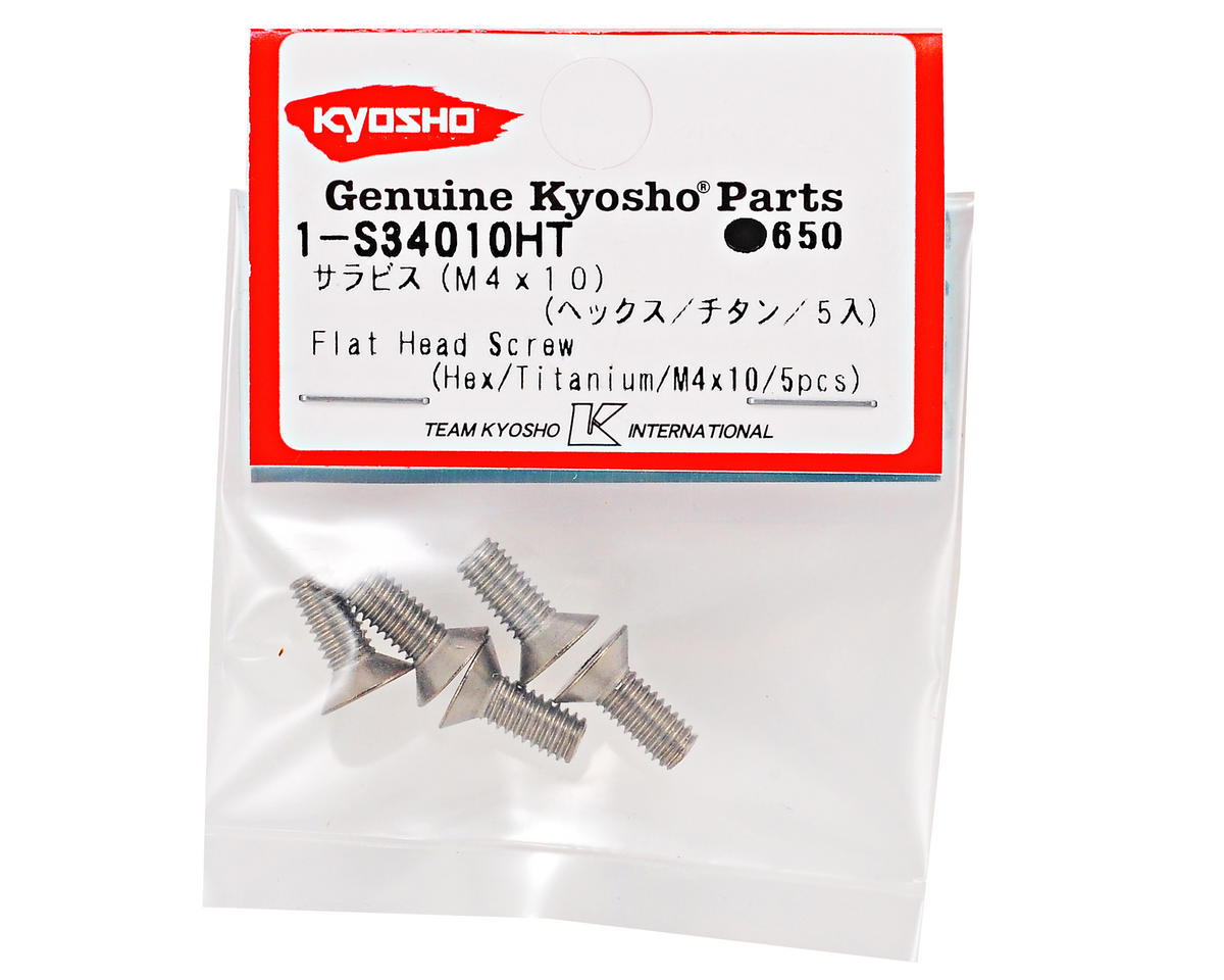 Kyosho 4x10mm Titanium Flat Head Hex Screw (5)