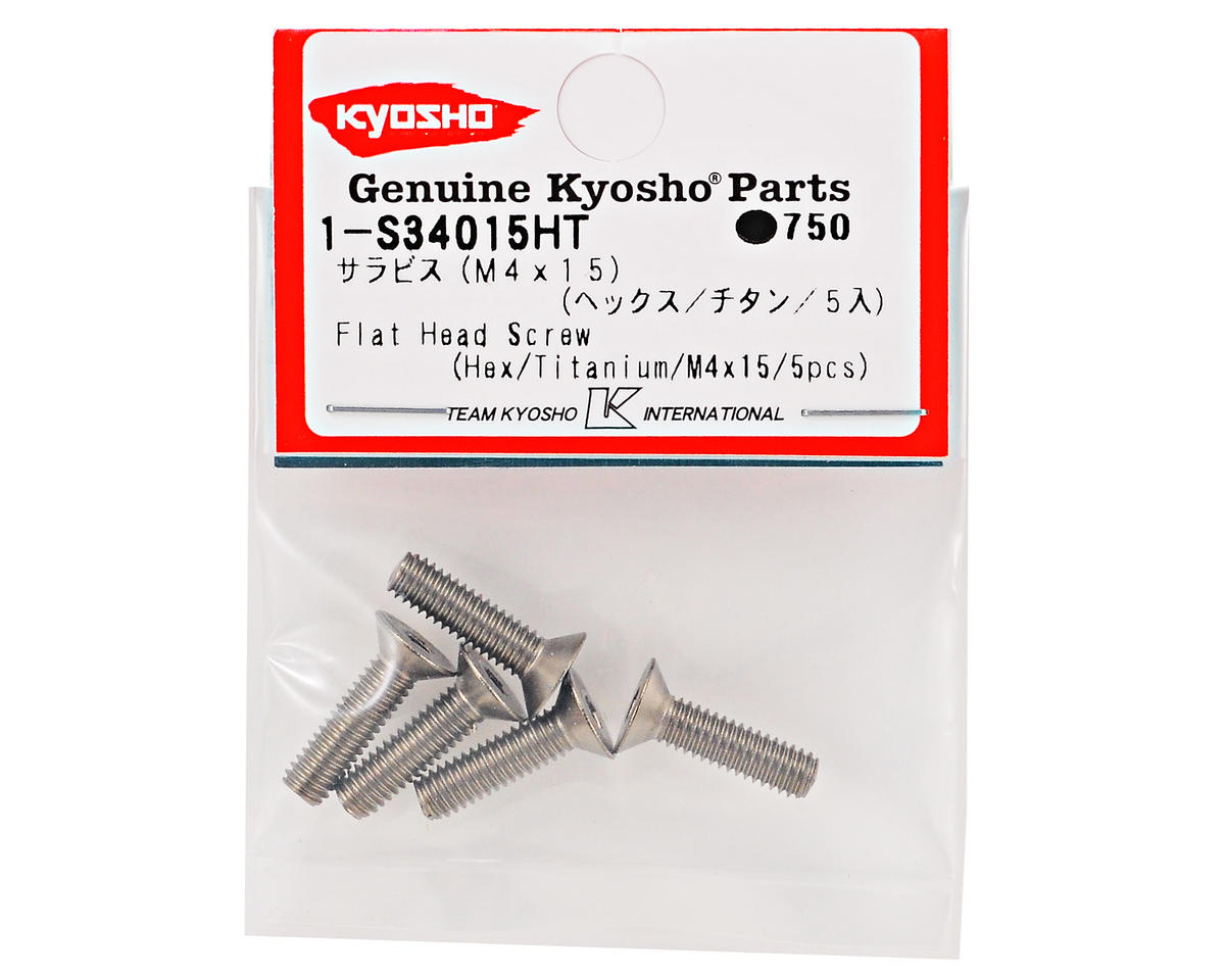 Kyosho 4x15mm Titanium Flat Head Hex Screw (5)