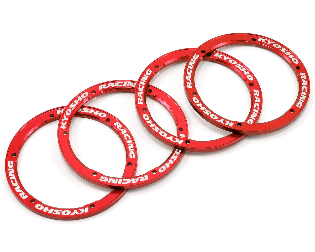 Kyosho Aluminum Wheel Cover (Red) (4)