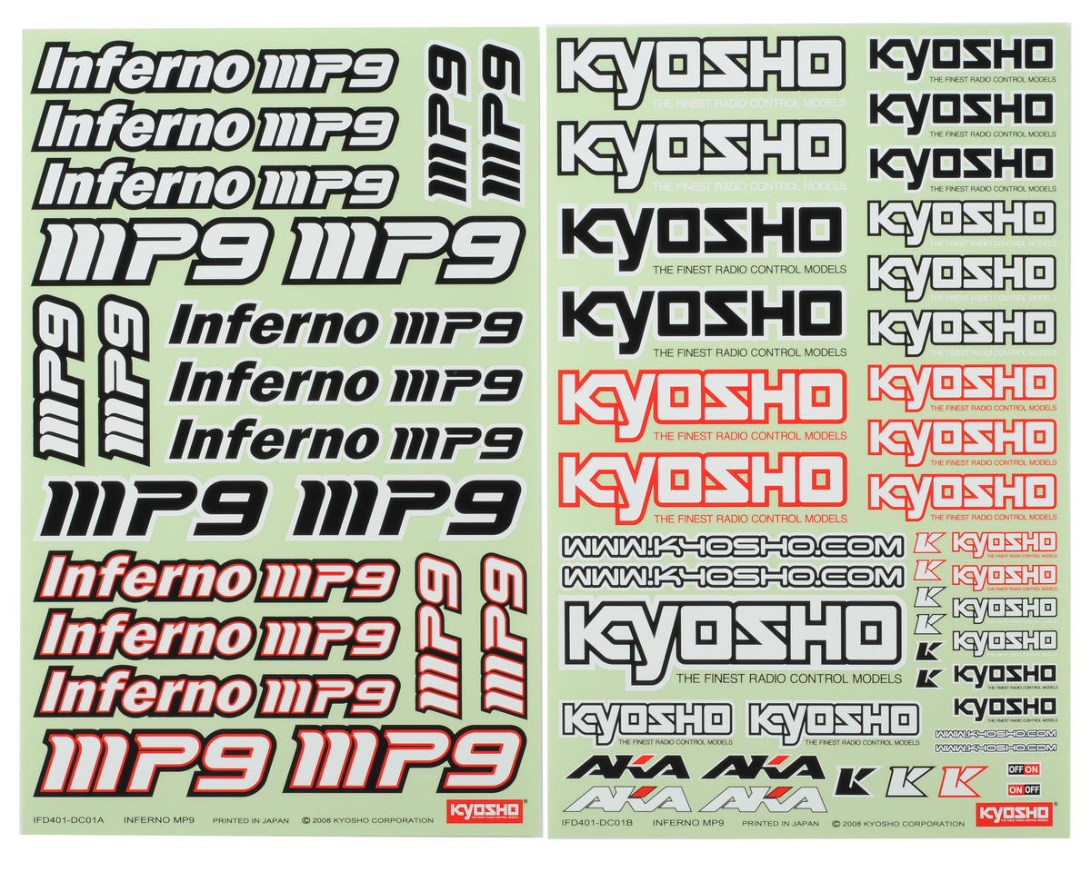 Kyosho MP9 Decal Sheet (2)