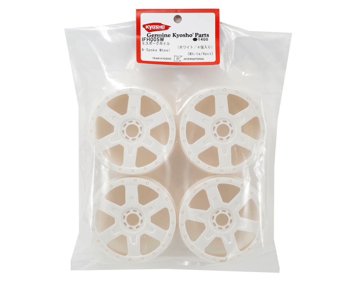 6-Spoke 1/8 Wheel (4) (White) by Kyosho