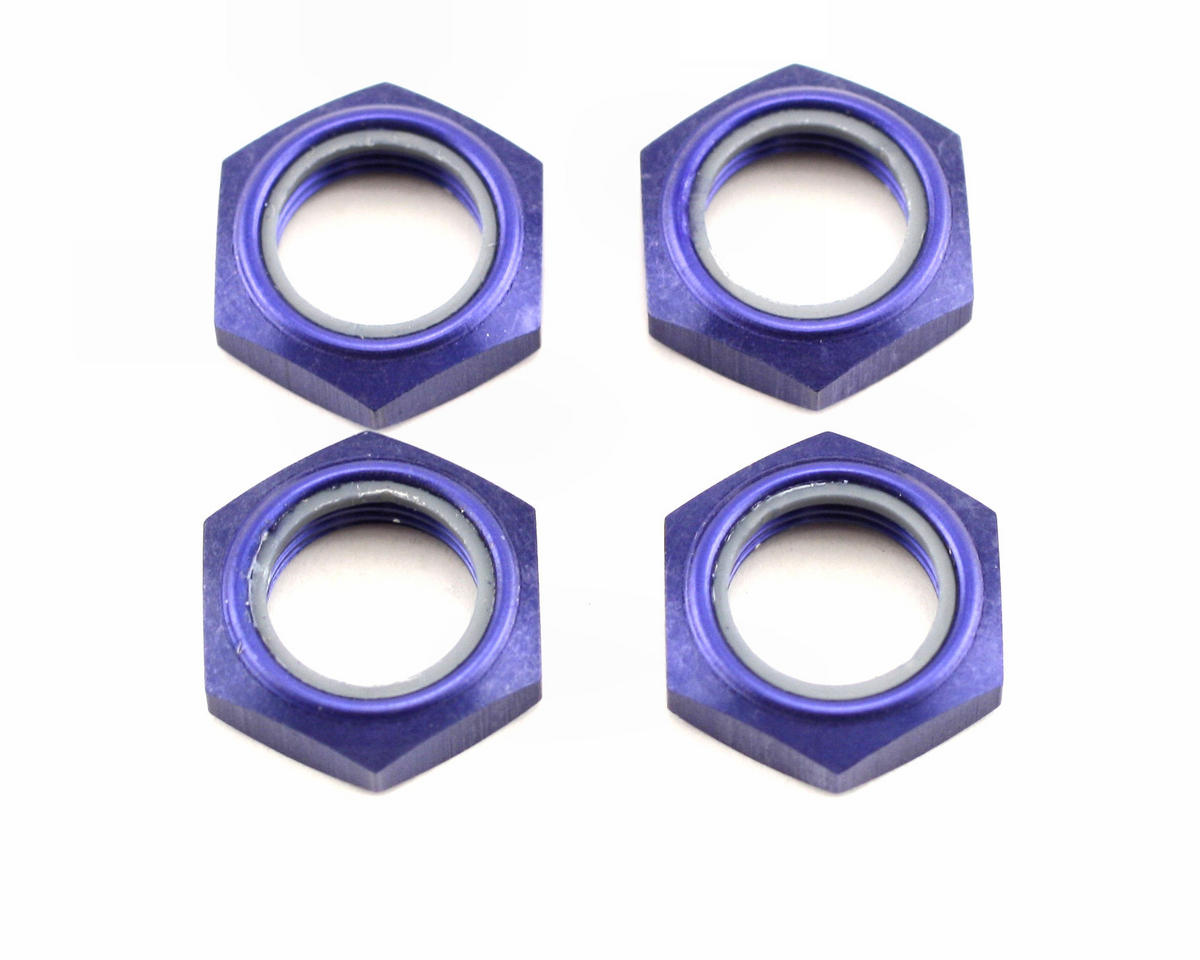 Kyosho Wheel Nut W/Nylon (Blue) (4)