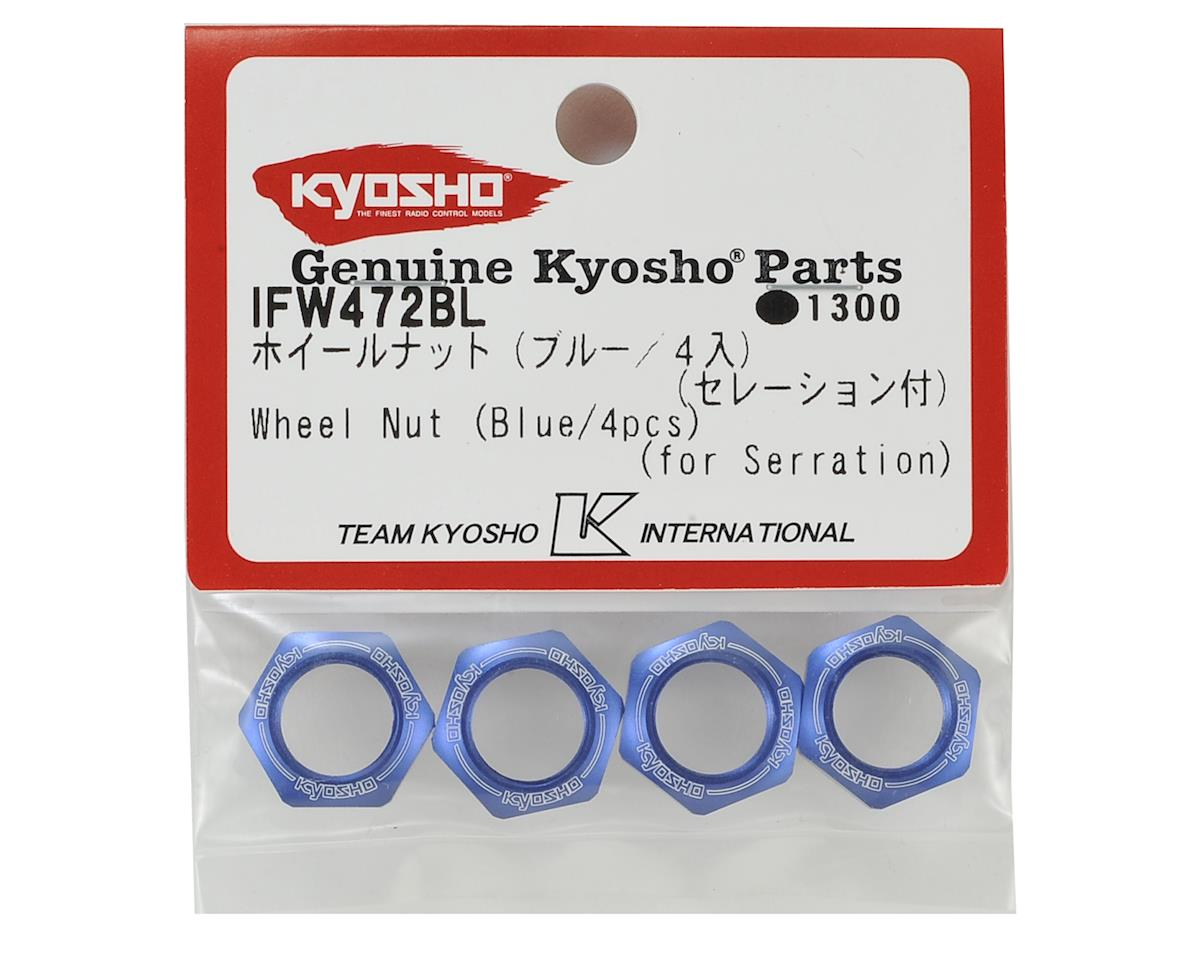Kyosho 17mm 1/8 Serrated Wheel Nut (Blue) (4)