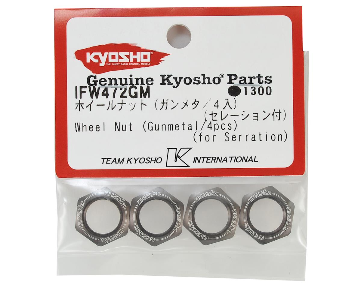 Kyosho 17mm 1/8 Serrated Wheel Nut (Gun Metal) (4)