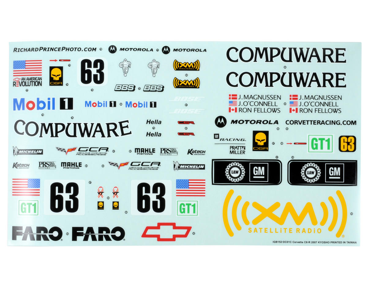 Sponsor Sticker Set (Corvette C6-R) by Kyosho