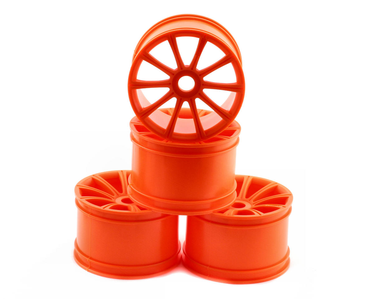 Kyosho Inferno ST-R 17mm Standard Offset Ten Spoke Monster Truck Wheels (ST-R) (4) (Orange)