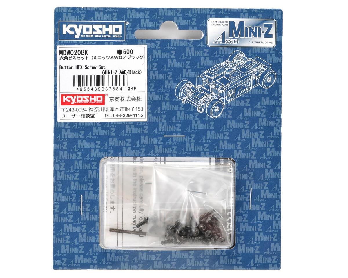 Kyosho Mini-Z AWD Button Hex Screw Set (Black) (MA-010/MA-015)