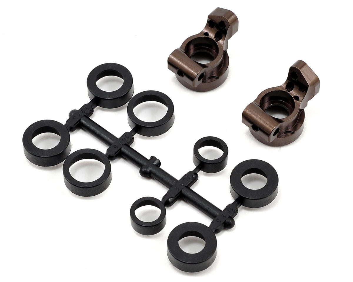 Kyosho Lazer ZX-5 V2 0° Aluminum Rear Hub Carrier Set (Gunmetal)