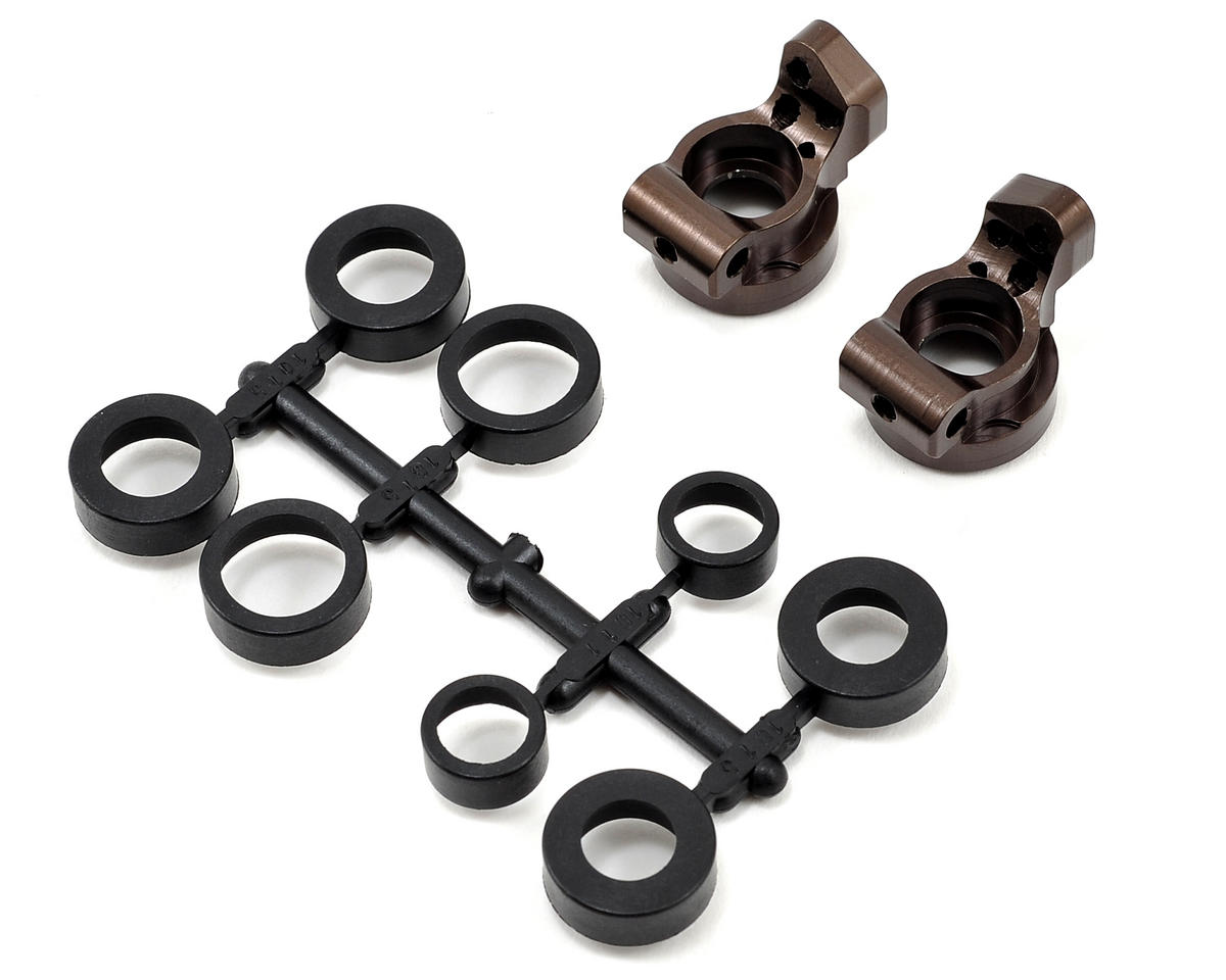 V2 0.5° Aluminum Rear Hub Carrier Set (Gunmetal) by Kyosho