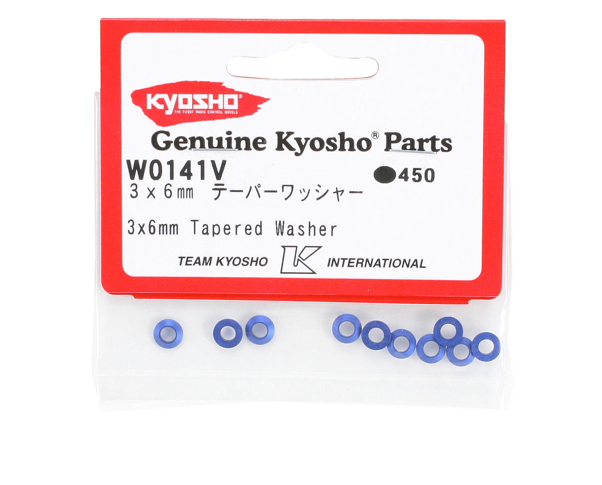 Kyosho 3x6mm Blue Aluminum Tapered Washers (10)