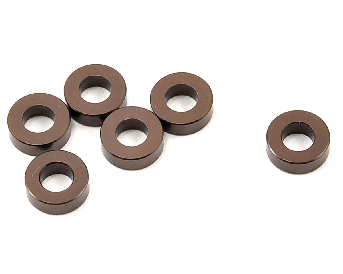 3x6x2mm Aluminum Washer (Gun Metal) (6) by Kyosho