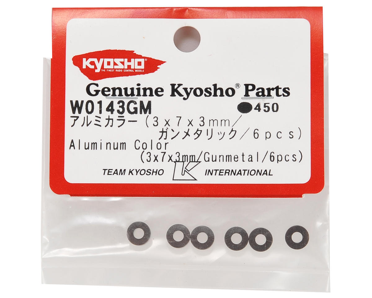Kyosho 3x7x3mm Aluminum Washer (Gun Metal) (6)