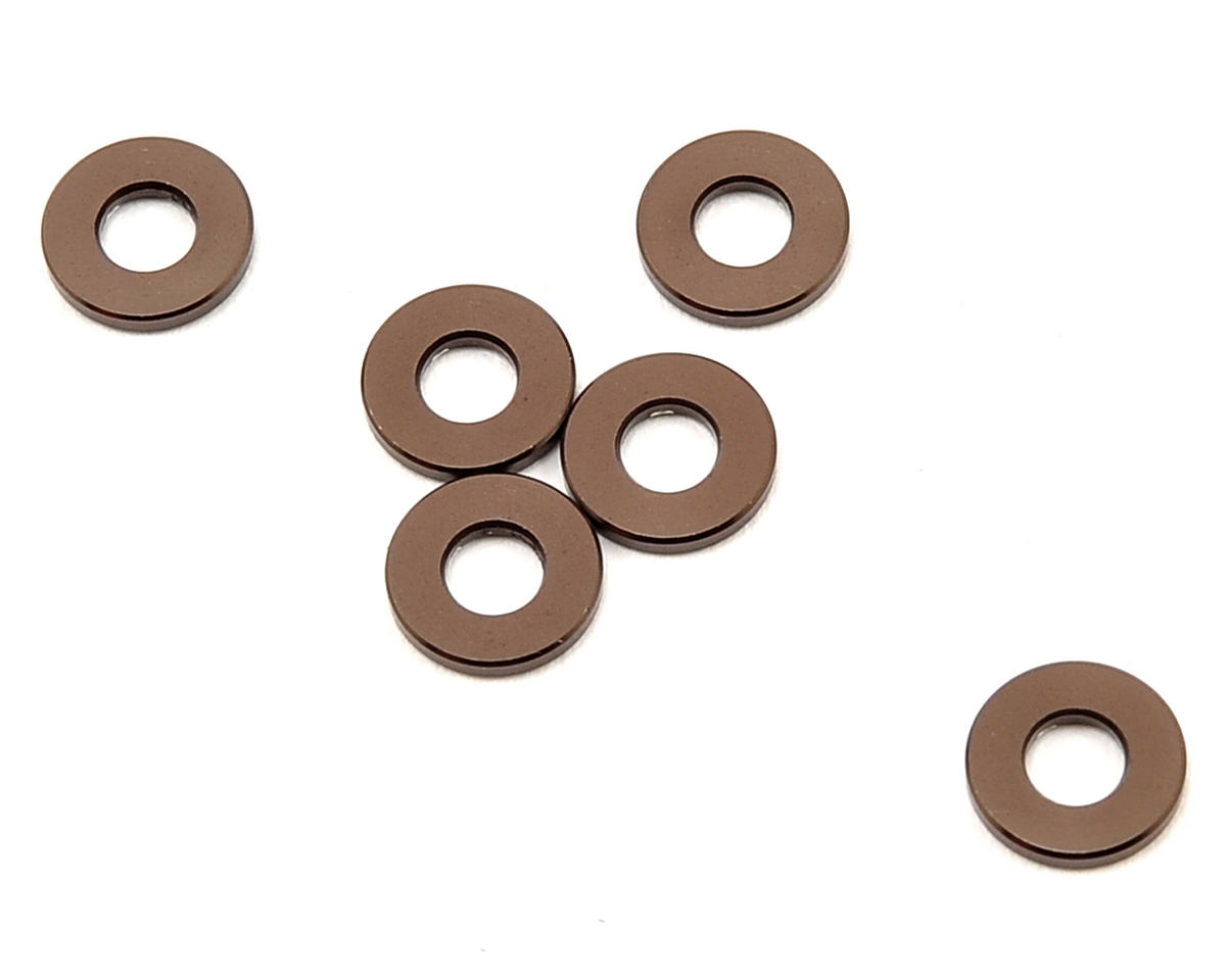 3x7x1mm Aluminum Washer (Gun Metal) (6) by Kyosho