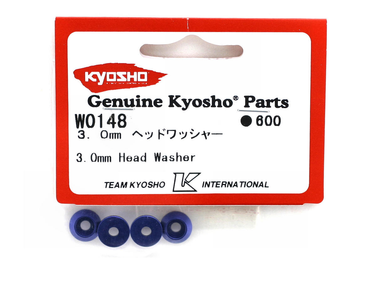 Kyosho 3mm Blue Aluminum Tapered Head Washers (4)