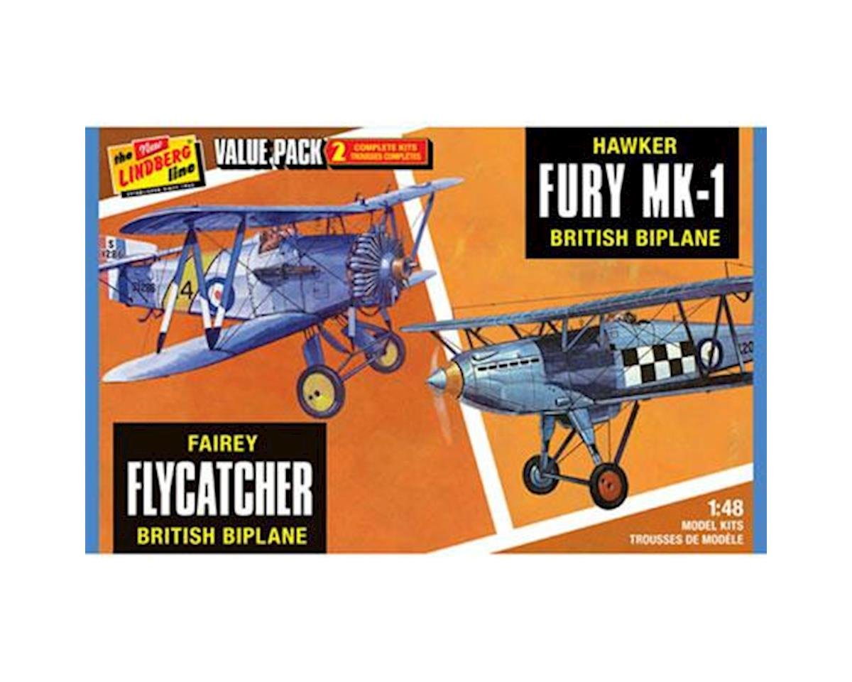 Lindberg Models Fairey Flycatcher/Hawker Fury 2PK