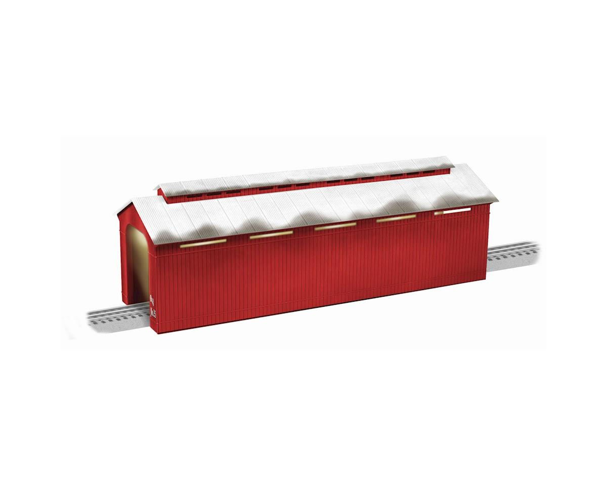 Lionel O Illuminated Covered Bridge/Long, Red