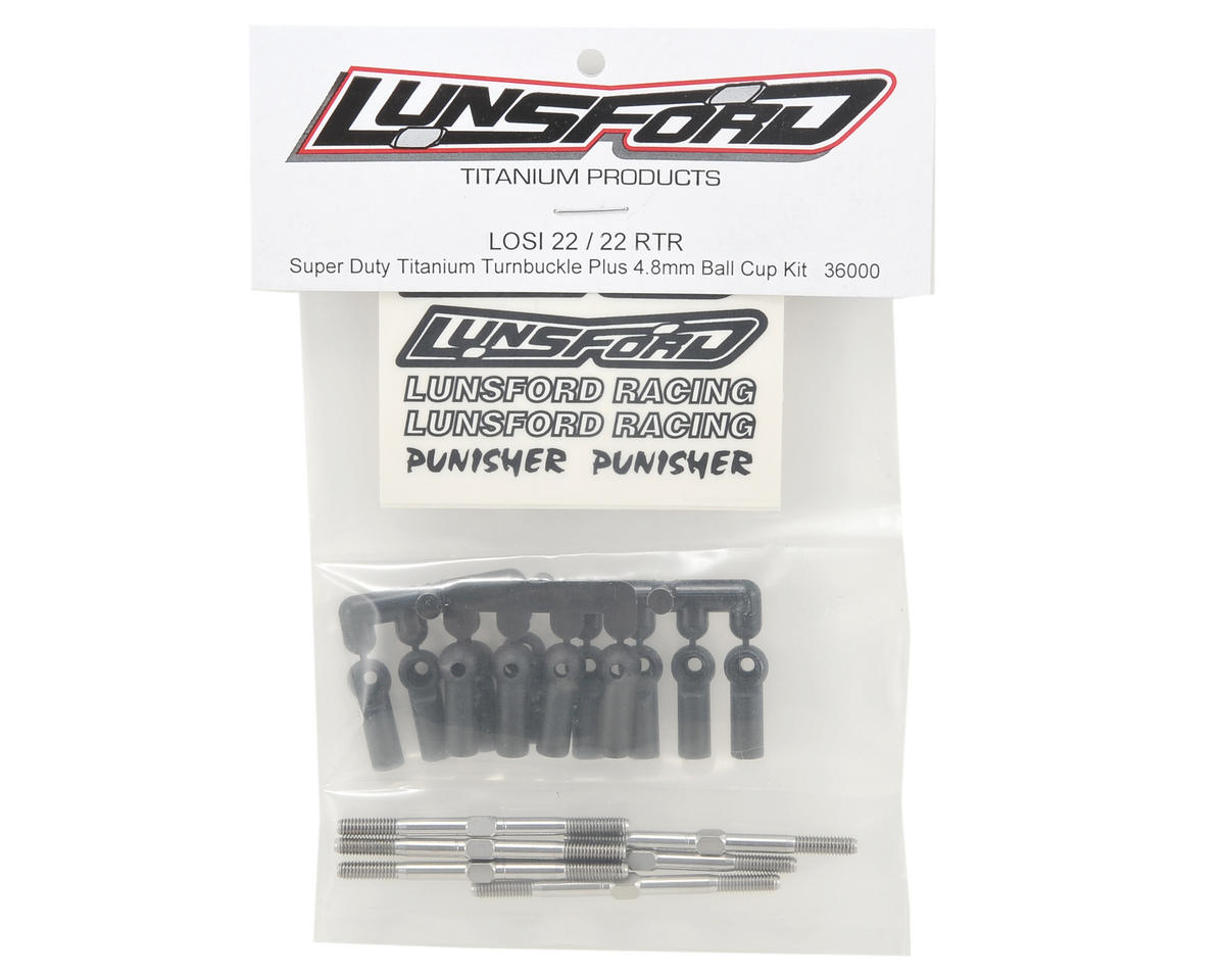 "Lunsford ""Super Duty"" TLR 22 Titanium Turnbuckle Kit w/Ball Cups (6)"