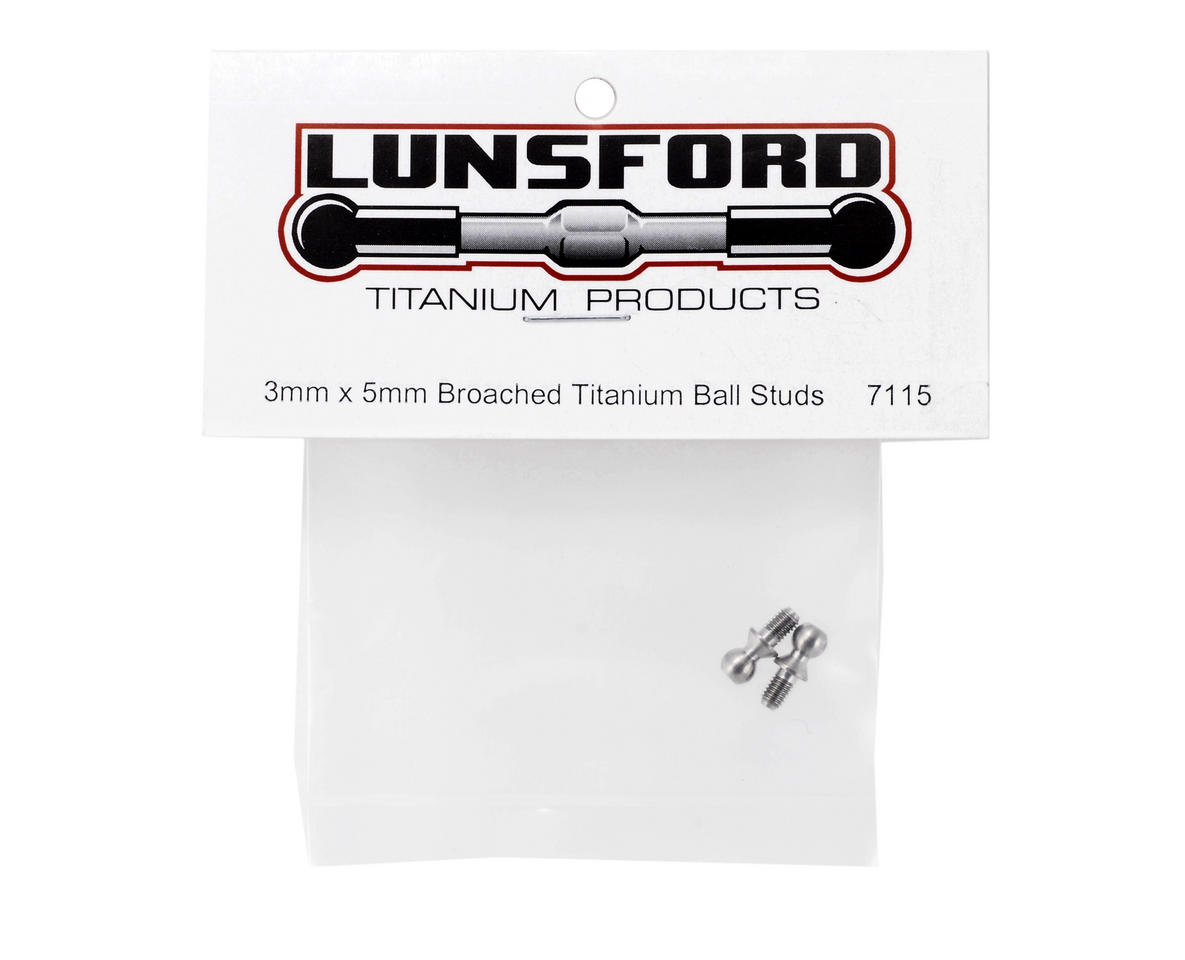 3x5mm Broached Titanium Ball Studs (2) by Lunsford