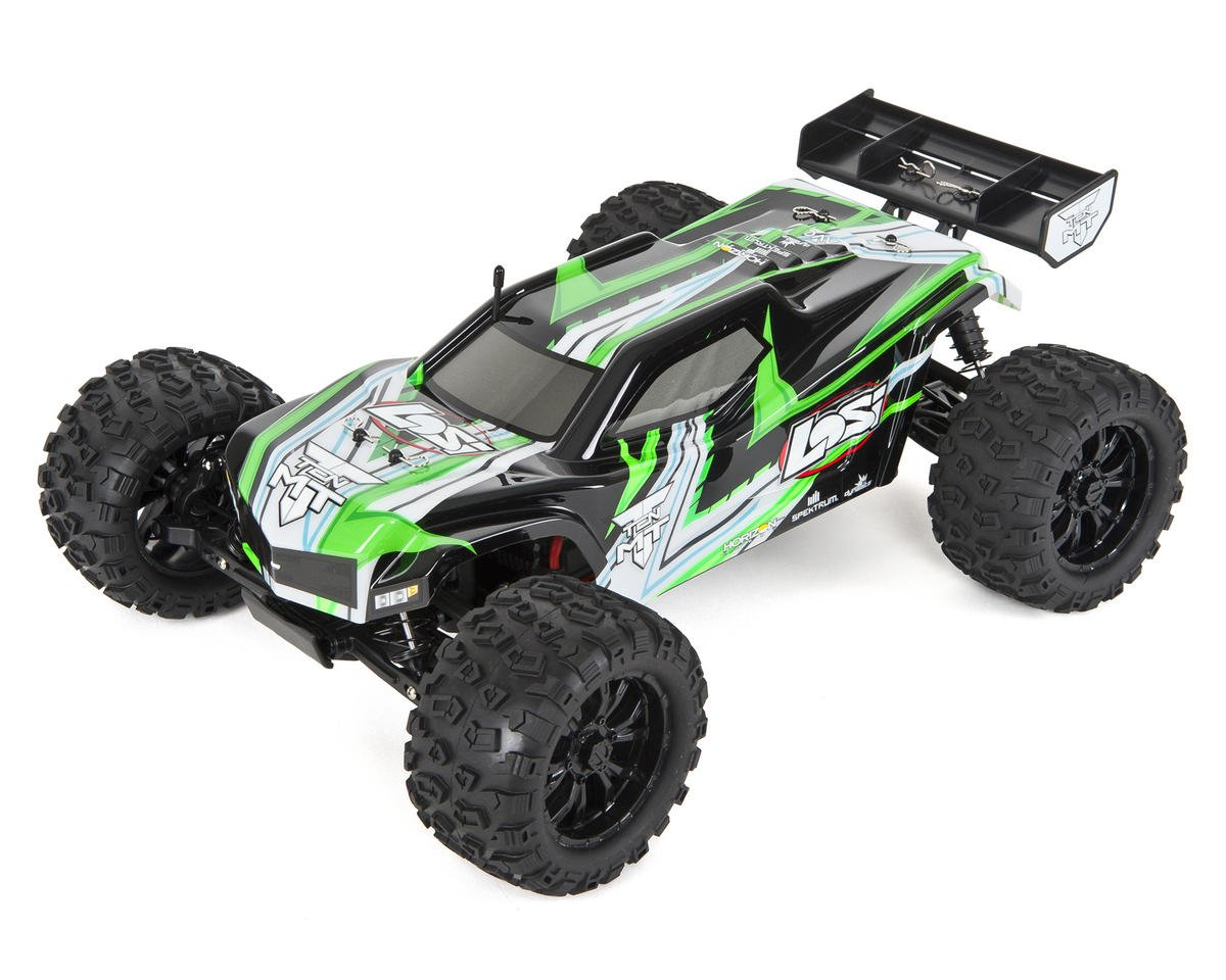 TEN-MT 1/10 RTR 4WD Brushless Monster Truck (Black/Green) by Losi