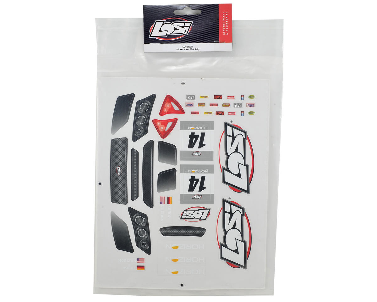 Losi Mini Rally Sticker Sheet