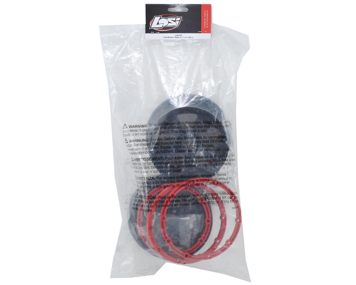 Losi Desert Buggy XL Wheel Set w/Beadlocks (2) (Black/Red)