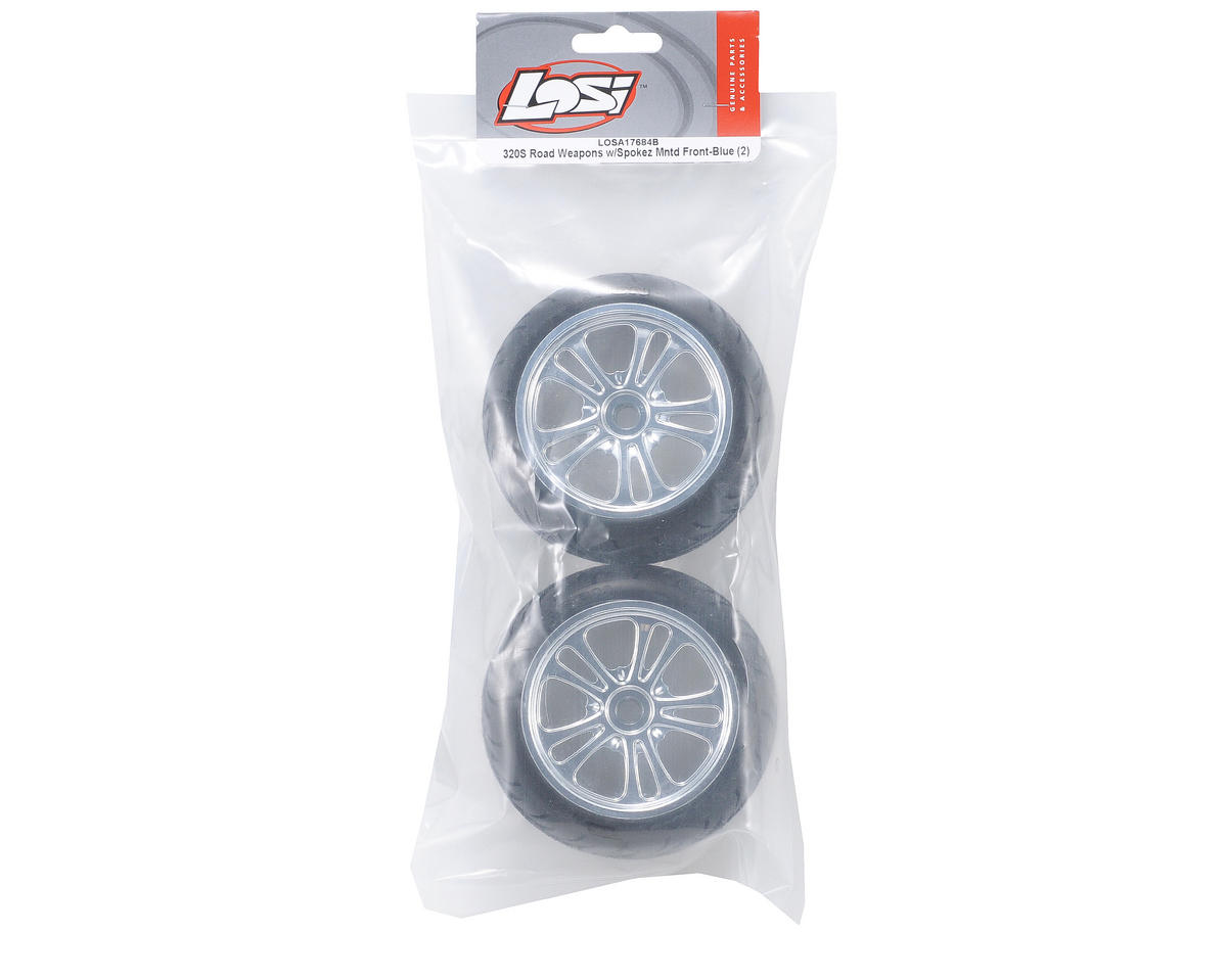 Losi Pre-Mounted 320 Series Front Road Weapon Tires w/Spokez Wheels (Blue) (2)
