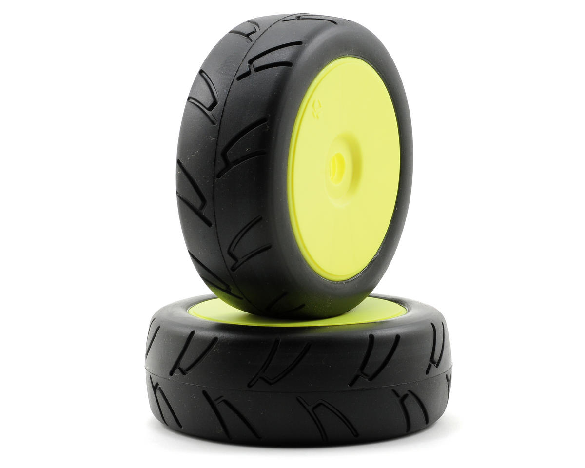 Street Pre-Mounted 1/8 On-Road Tires (2) (Yellow)
