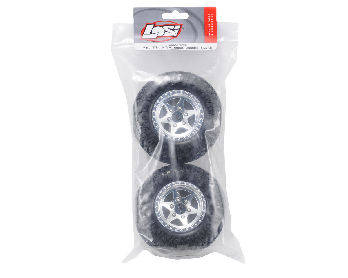 Losi Pre-Mounted Rear A/T Truck Tires w/Chrome Wheels (Blue) (2)