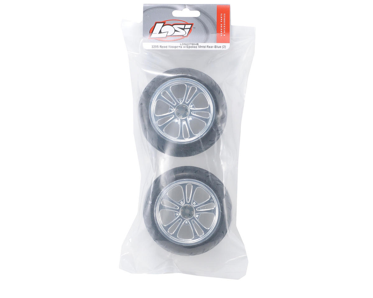 Losi Pre-Mounted 320 Series Rear Road Weapon Tires w/Spokez Wheels (Blue) (2)