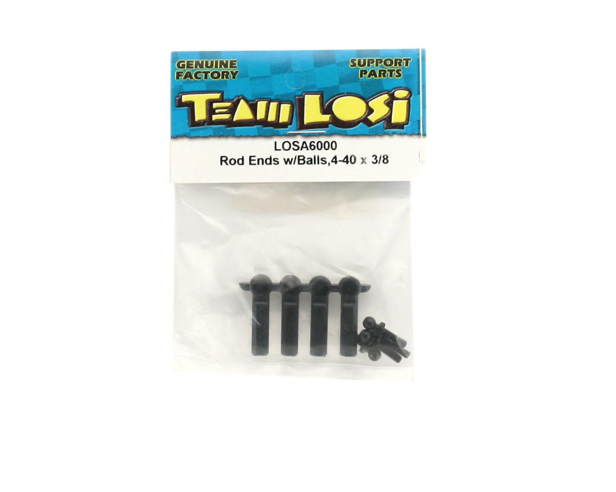 Losi Rod Ends With Balls, 4-40 x 3/8""