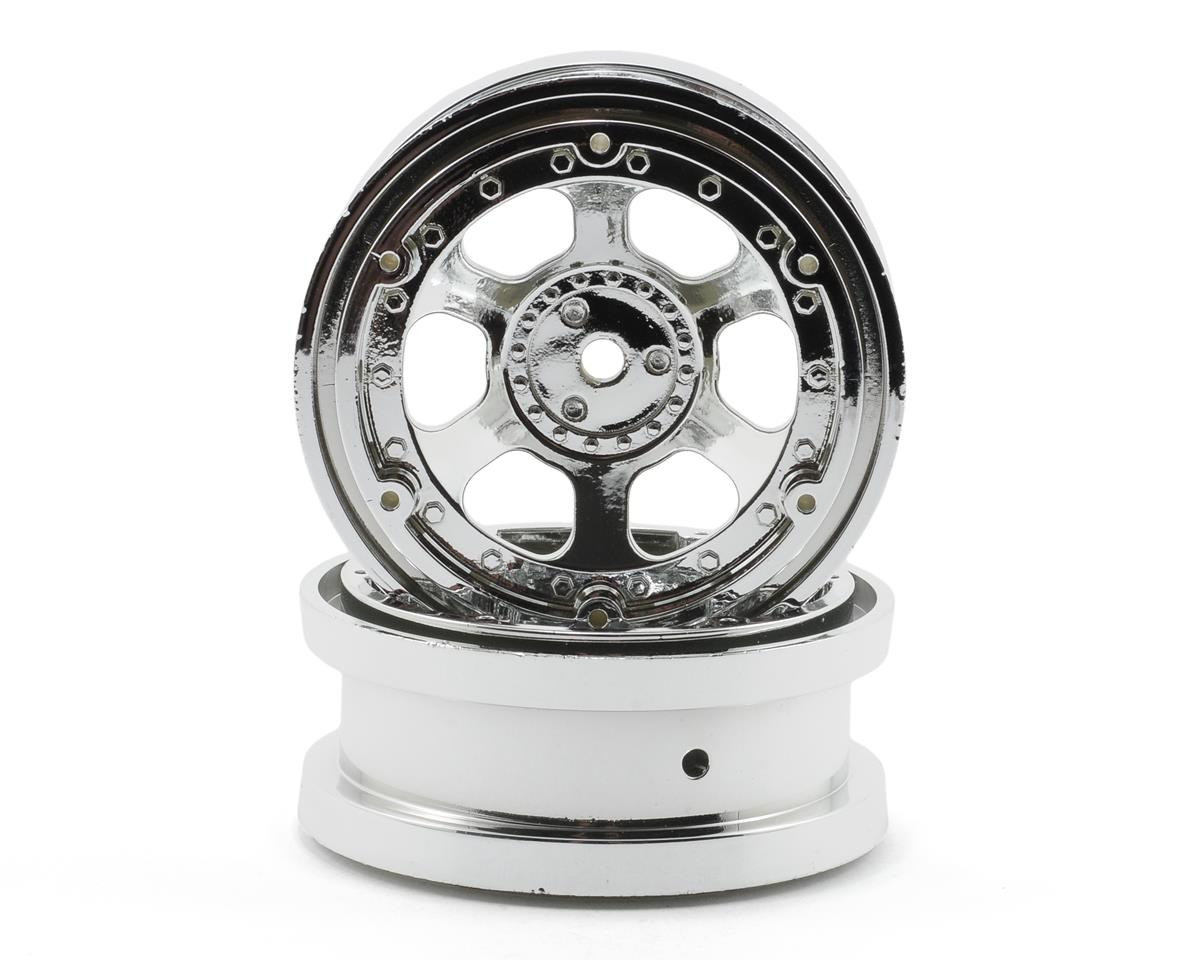 "Losi 2.2"" Beadlock Rock Crawler Wheels w/Rings (Chrome)"