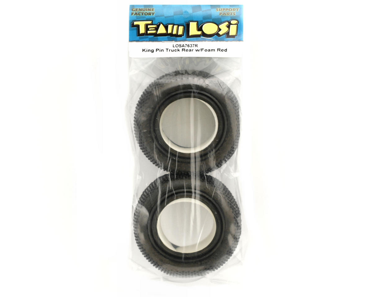 Losi King Pin Rear Truck Tire w/Foam (Red) (2)