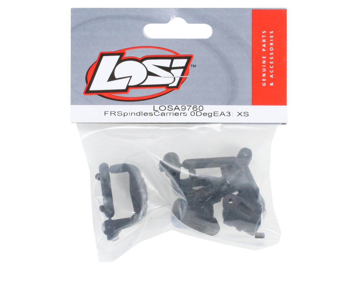 Losi Front Spindles & Carriers 0-Deg, EA3: all X-S