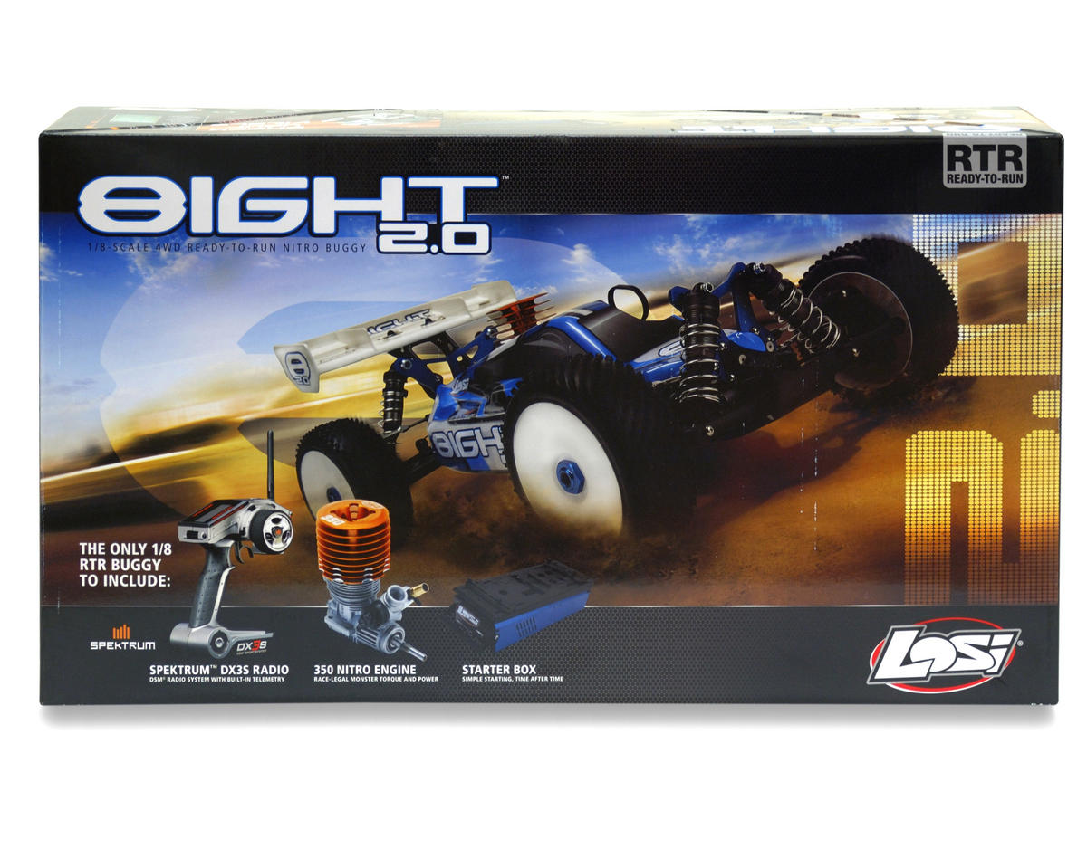 Losi 8IGHT 2.0 1/8 4WD RTR Buggy (w/DX3S Radio, Telemetry Installed & Starter Bo