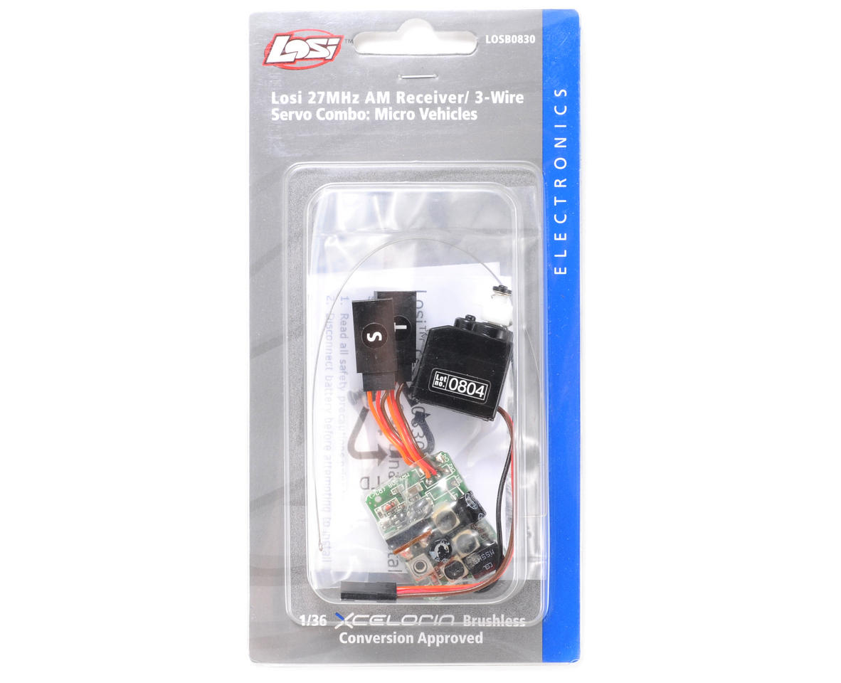 Losi 27MHz AM Receiver & Servo Combo (3 Wire)