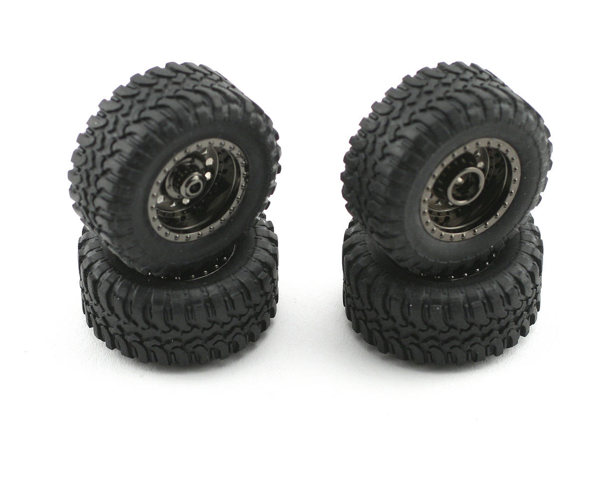 Losi Micro Desert Truck Pre-Mounted Tire Set (Black Chrome) (4)