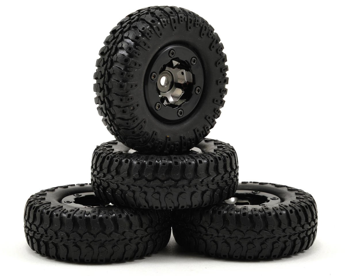 Losi Micro 4x4 Trail Trekker Pre-Mounted Scale AT Tire & Wheel Set (4) (Black)