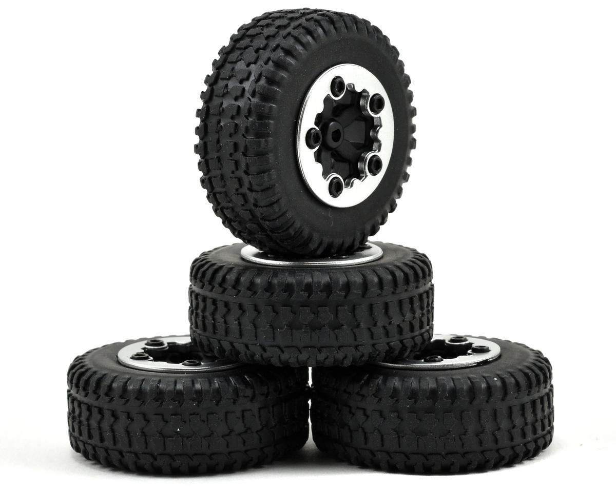 Losi Micro Short Course Truck Pre-Mounted SCT Tires (4) (Black Chrome)