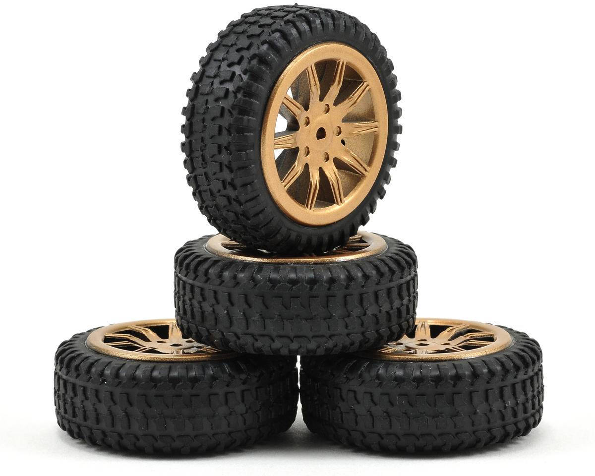 Losi Micro Rally Car Pre-Mounted Tires (Gold) (4)