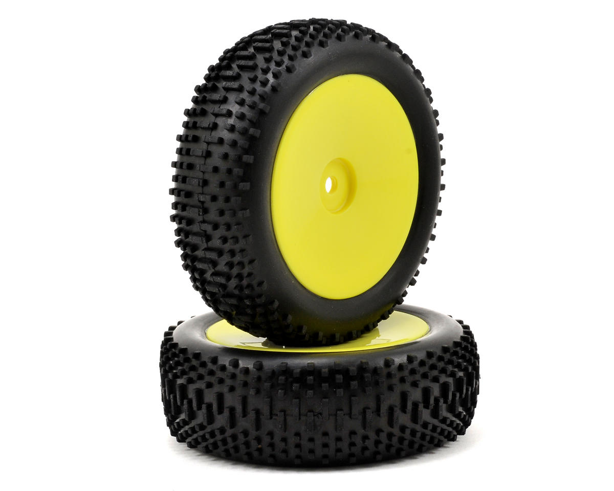 Mini King Pin Pre-Mounted Front Tire Set (2) (Mini 8IGHT) (Yellow) by Losi