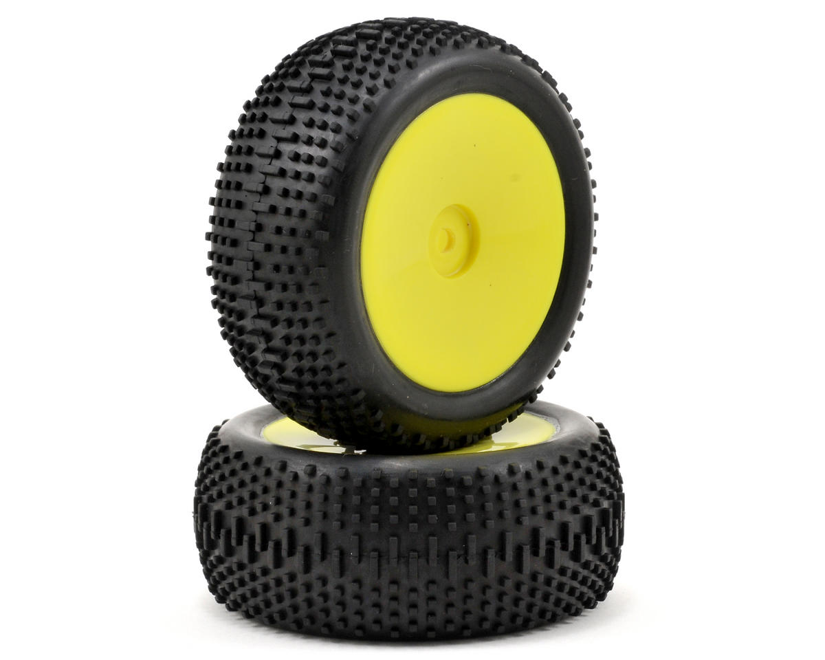 Mini King Pin Pre-Mounted Rear Tire Set (2) (Mini 8IGHT) (Yellow) by Losi