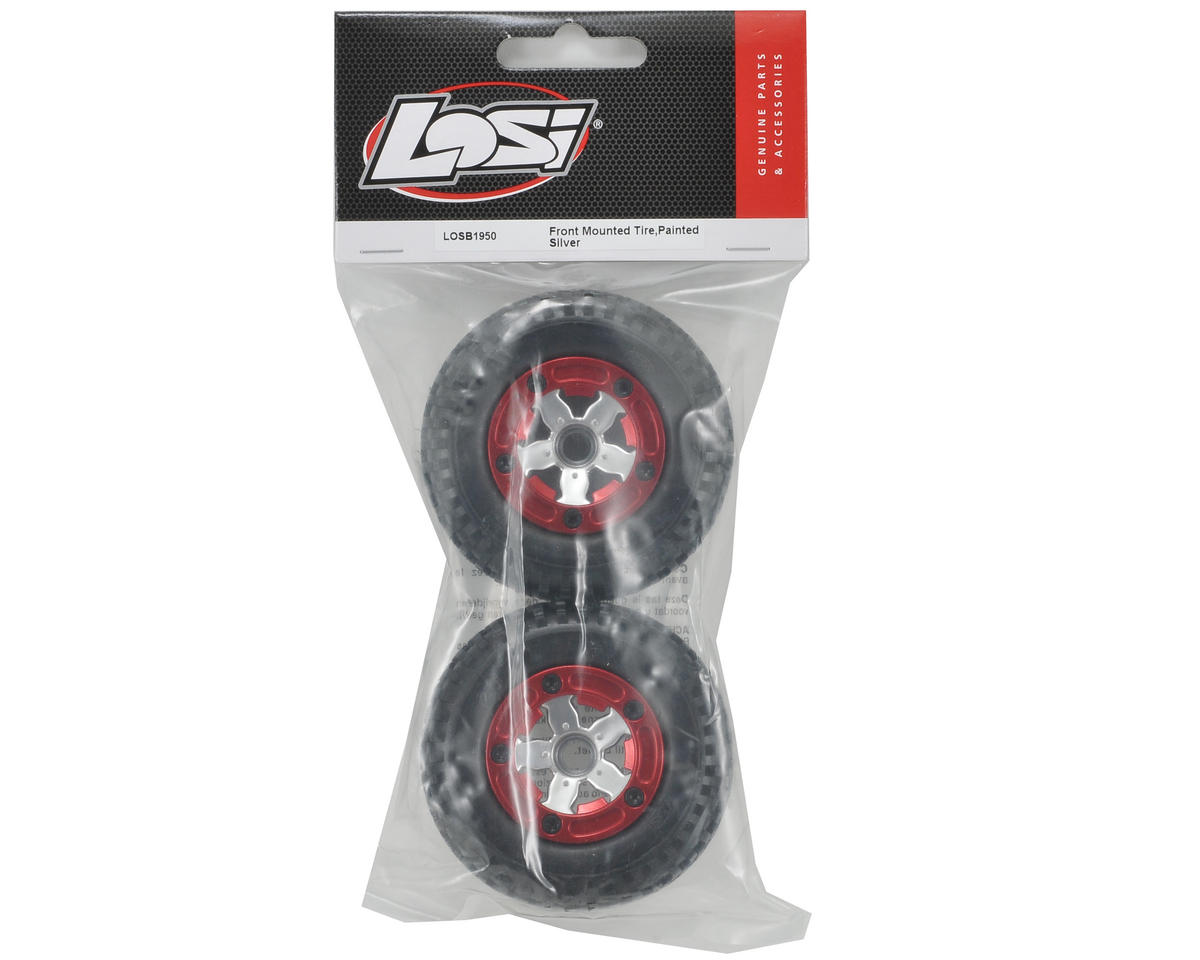 Losi Pre-Mounted Front Tire Set (2) (Chrome)