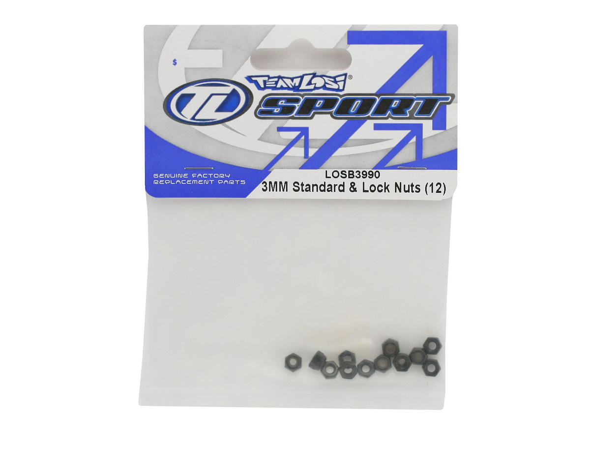 Losi 3mm Standard & Lock Nuts (12)