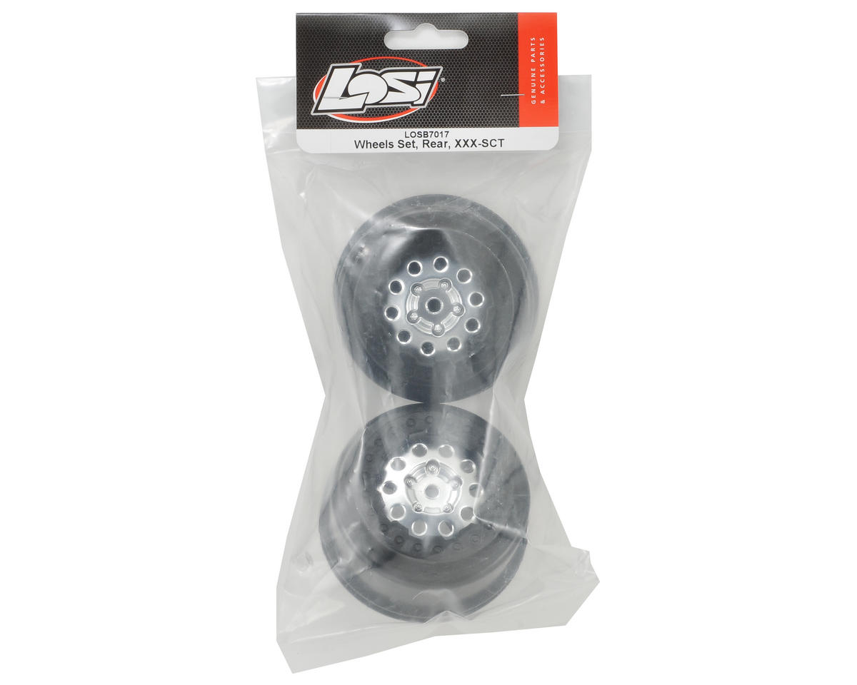 12mm Hex Short Course Wheels (Chrome/Black) (2) (XXX-SCT/SCB Rear) by Losi