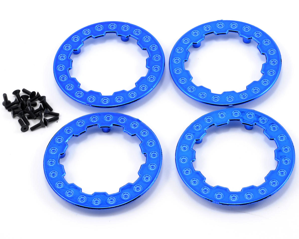 Losi Beadlock Ring Set w/Screws (Blue Chrome) (4)