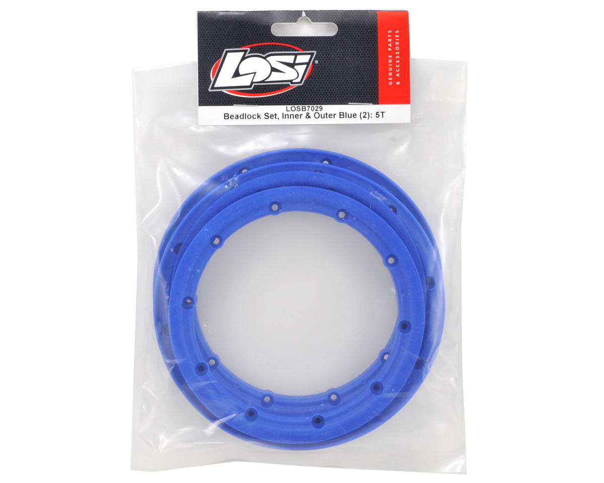 Losi 5IVE-T Inner & Outer Beadlock Set (Blue) (4)