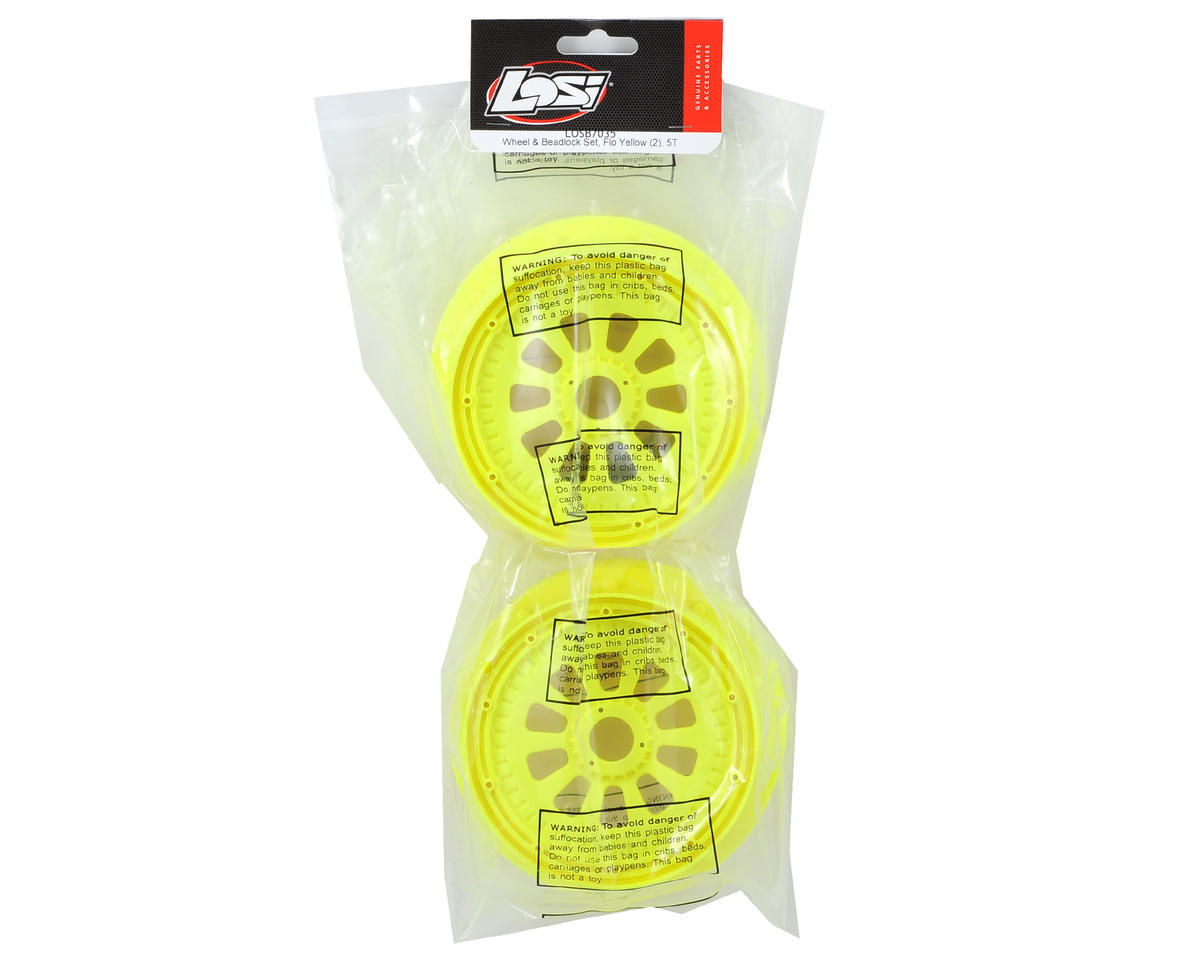 5IVE-T Wheel Set w/Beadlocks (2) (Yellow) by Losi