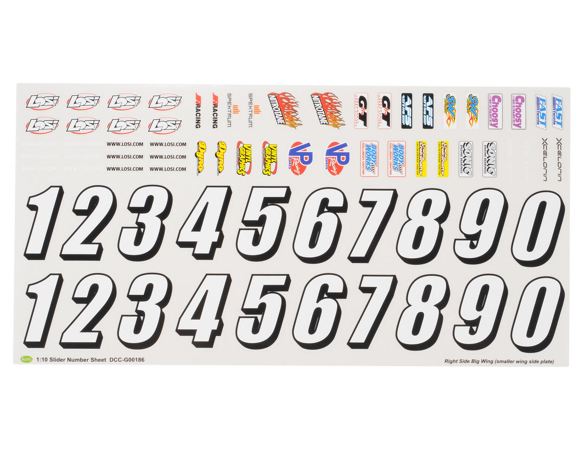 Losi Slider Sticker Sheet