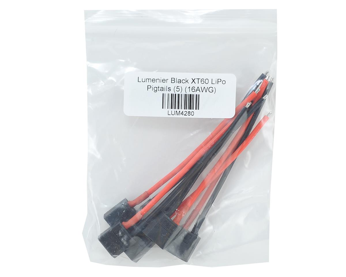 Lumenier Black XT60 LiPo Pigtails (5) (16AWG) (Male)