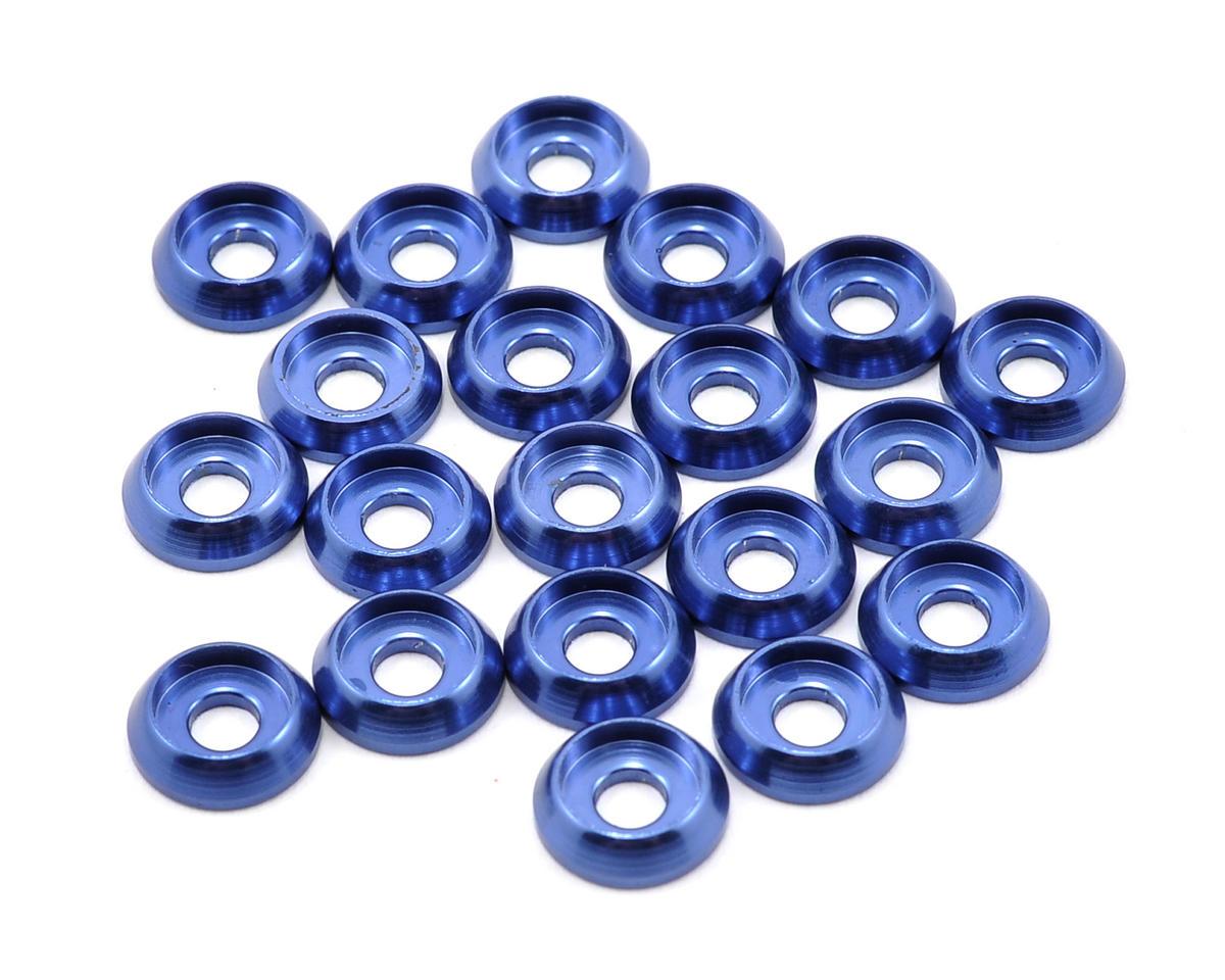 Lynx Heli 3mm Aluminum Countersunk Frame Washer Set (Blue) (20)